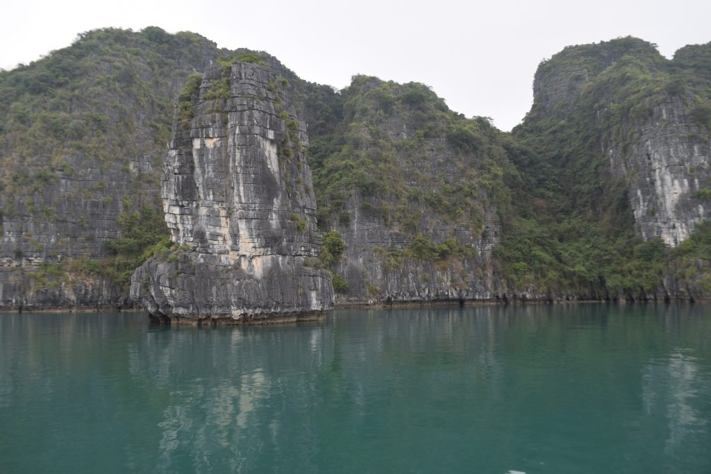 Limestone cliffs in Halong bay