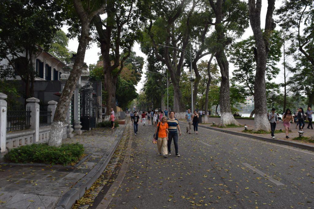Walking path around Koan Kiem Lake in Hanoi