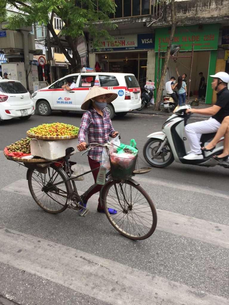 Woman selling fruit in Hanoi